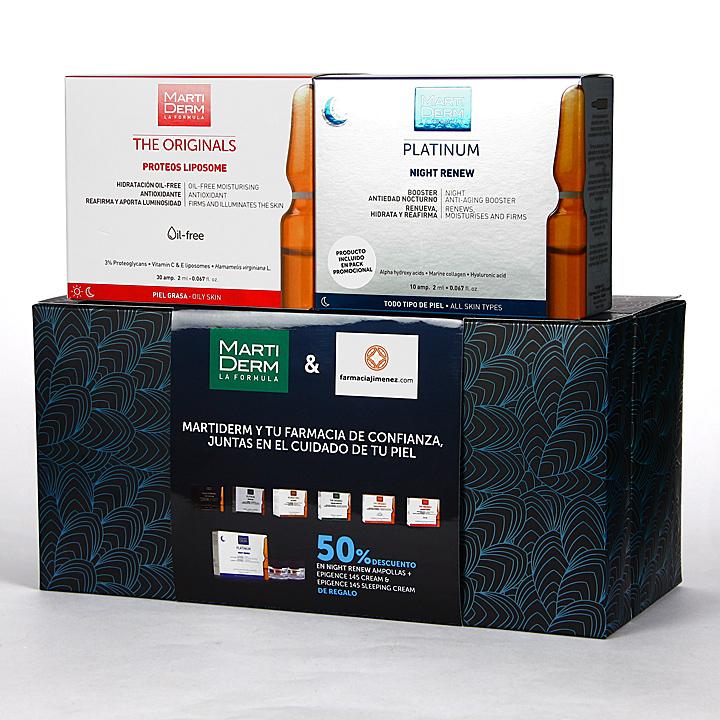 Farmacia Jiménez | Martiderm Proteos Liposome 30 ampollas + Night Renew 10 ampollas 50% Pack