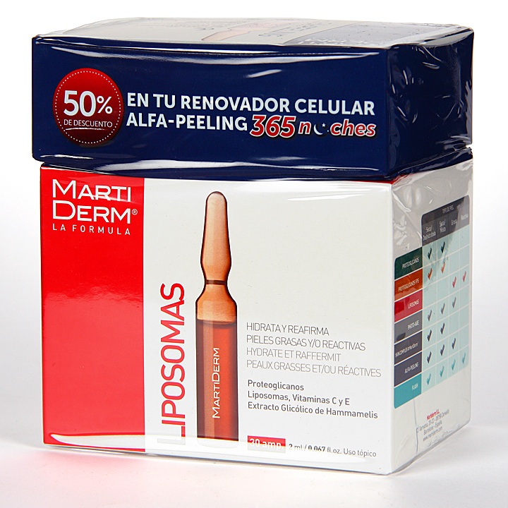 Farmacia Jiménez | Martiderm Liposomas 30 ampollas + Alfa peeling 10 ampollas 50% Pack