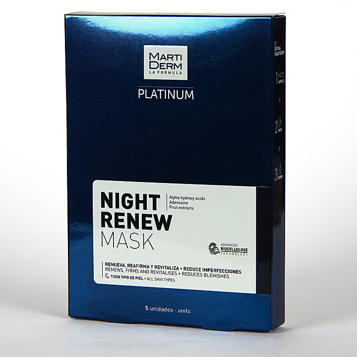 Farmacia Jiménez | Martiderm Platinum Night Renew Mask 5 unidades