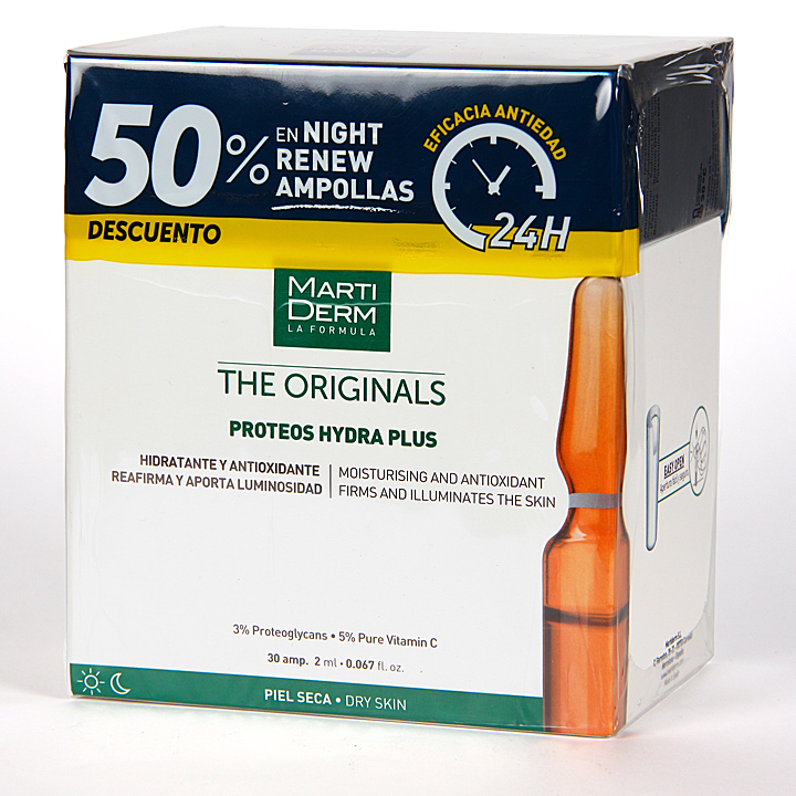 Farmacia Jiménez | Martiderm Proteos Hydra Plus 30 ampollas + Night Renew 10 ampollas 50% pack