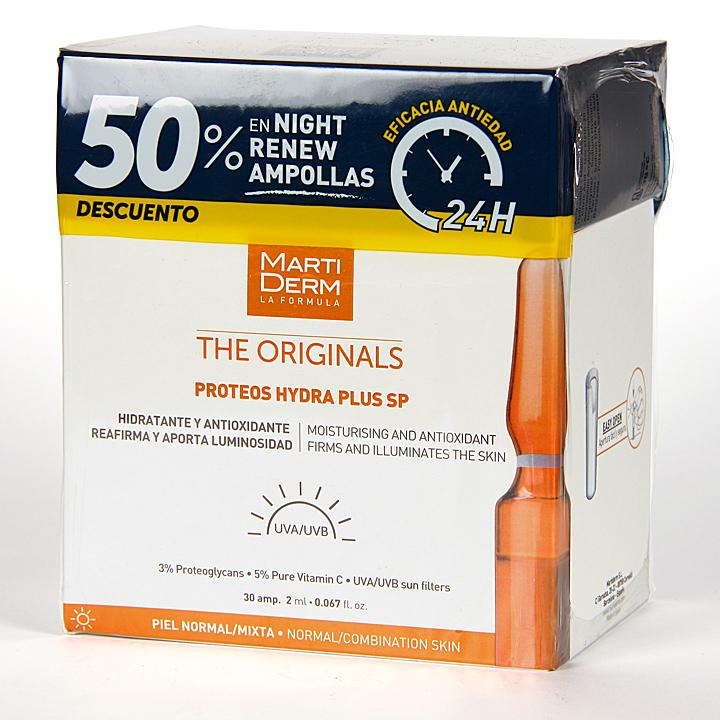 Farmacia Jiménez | Martiderm Proteos Hydra Plus SP 30 ampollas + Night Renew 10 ampollas 50% pack