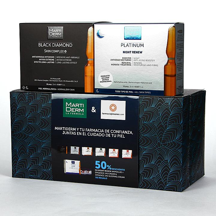 Farmacia Jiménez | Martiderm Skin Complex 30 ampollas + Night Renew 10 Ampollas 50 % Pack