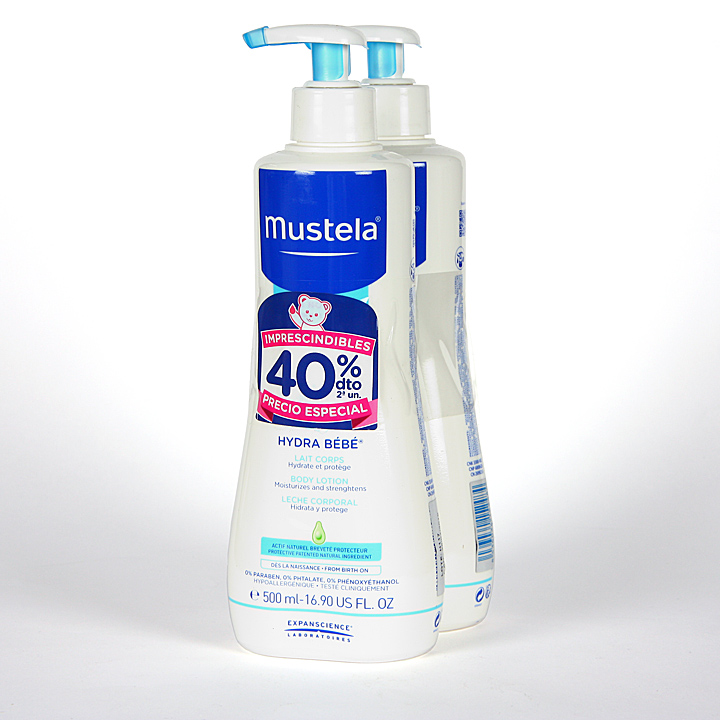 Farmacia Jiménez | Mustela Hydrabebé leche corporal Duplo 500 ml