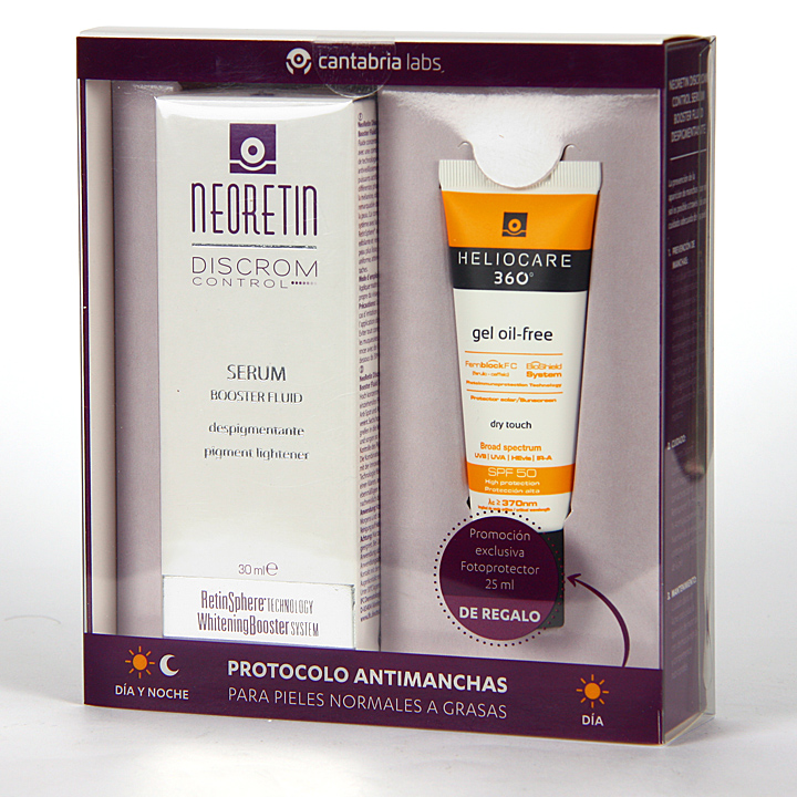 Farmacia Jiménez | Neoretin Discrom Serum Booster 30 ml + Heliocare 360º gel oil free 25 ml Regalo
