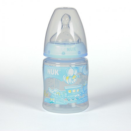 Farmacia Jiménez | Nuk Biberon Azul Boca Ancha Tetina Anatómica Silicona T1M 0-6 meses 150ml