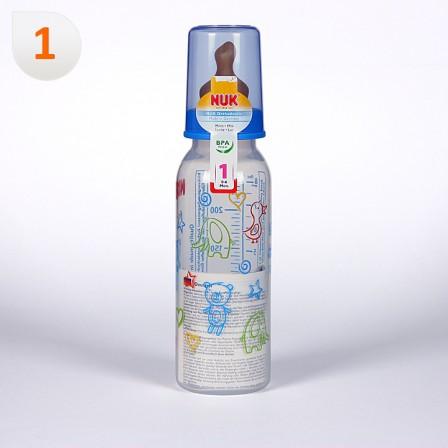 Farmacia Jiménez | Nuk Biberón Boca Estrecha Tetina Anatómica Látex T1M 0-6meses 240 ml