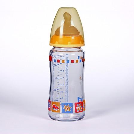 Farmacia Jiménez | Nuk Biberón Cristal Boca Ancha Tetina Anatómica Látex T1M 0-6 meses 240 ml