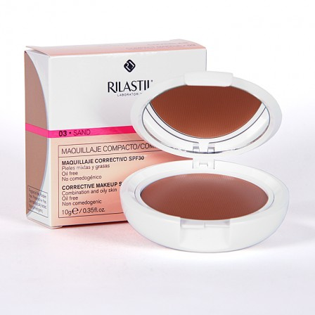 Farmacia Jiménez | Rilastil Cumlaude Coverlab Maquillaje compacto piel mixta-grasa Sand 03