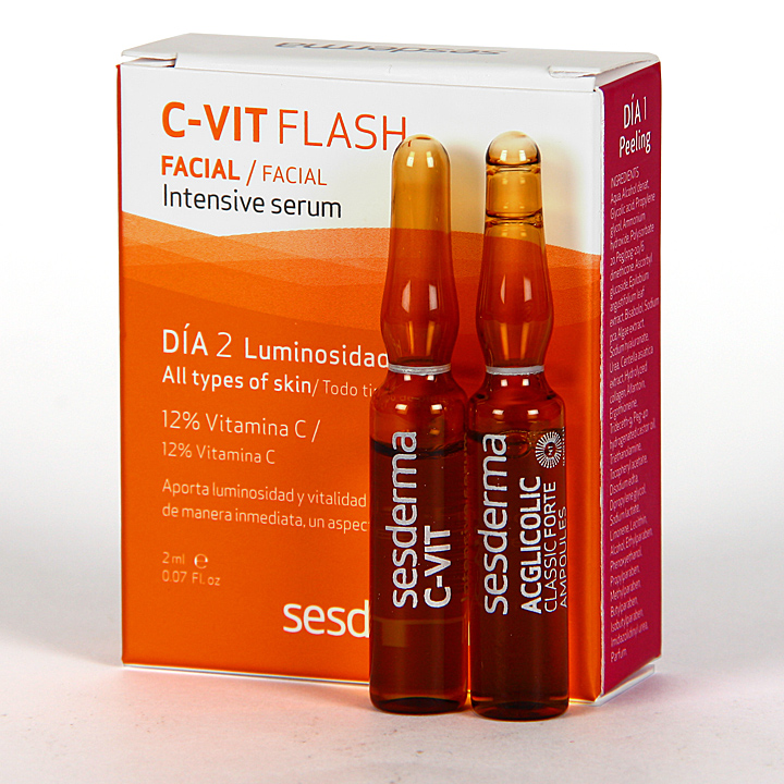 Farmacia Jiménez | Sesderma Tratamiento Flash Luminosidad Ampollas 2x2 ml