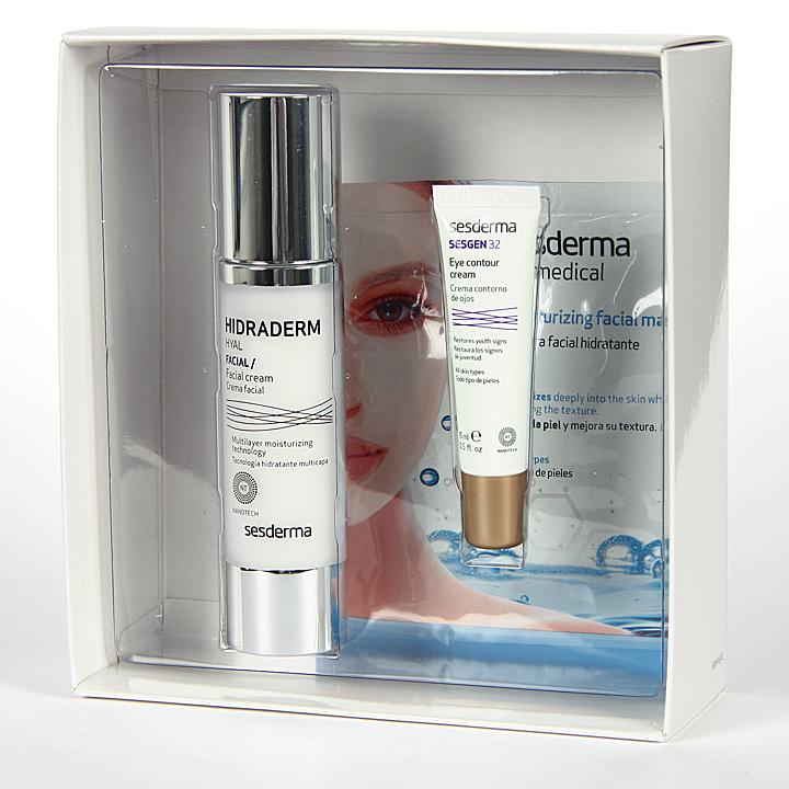 Farmacia Jiménez | Sesderma Hidraderm Hyal Crema Fluida + Sesgen 32 Contorno + Mascara Hidratante Pack