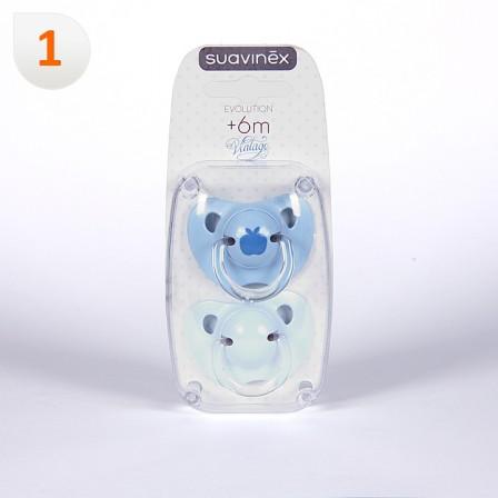 Farmacia Jiménez | Suavinex Chupete Vintage Azul Anatómico Látex 6 meses 2 unidades