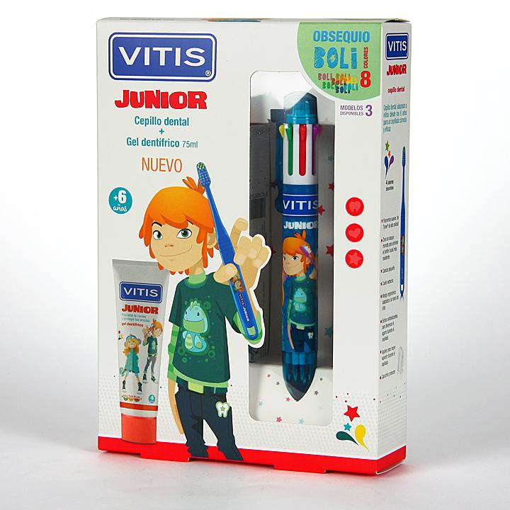 Farmacia Jiménez | Vitis Junior Pack Cepillo dental + Gel dentífrico + Regalo