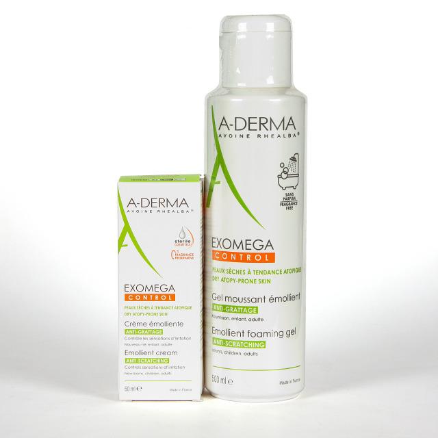 A-Derma Exomega Gel limpiador emoliente 500ml + DEFI crema 50 ml de Regalo