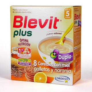 Blevit Plus Duplo 8 Cereales con miel galletas y naranja 600 g