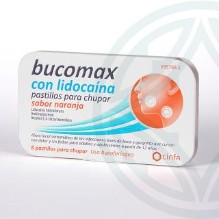 Bucomax Lidocaína 8 pastillas para chupar sabor naranja