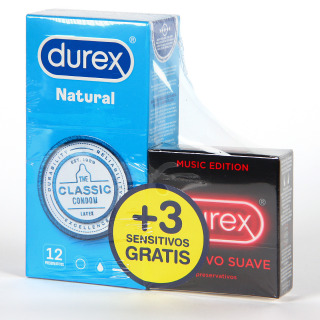 Durex Natural Comfort Preservativos 12 unidades + 3 Preservativos Sensitivos Gratis