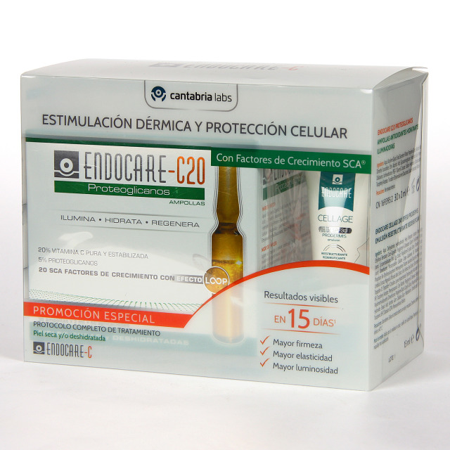 Endocare C20 Proteoglicanos 30 Ampollas + Endocare Cellage Day SPF 30 15 ml de regalo