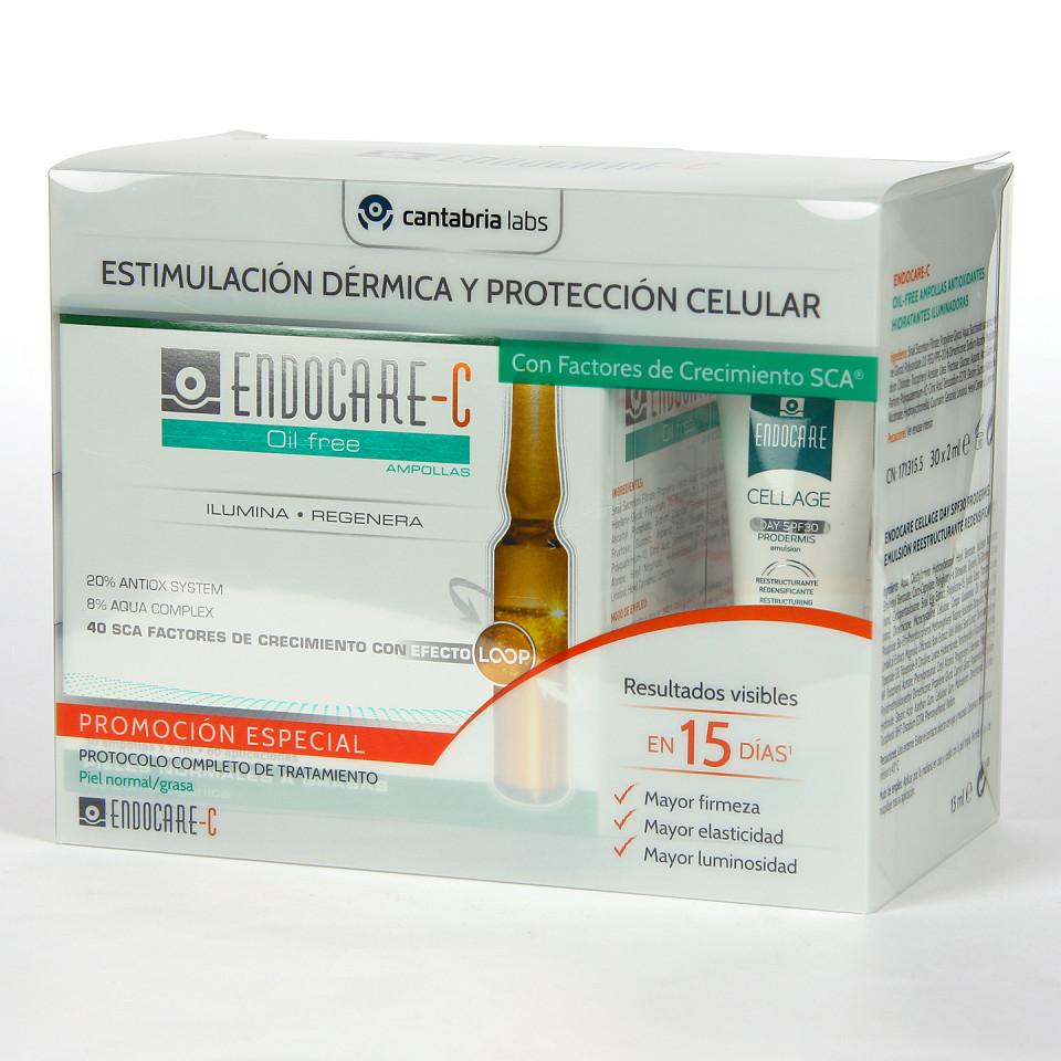 Endocare C Oil free 30 Ampollas + Cellage Prodermis Day SPF30 Emulsión 15 ml de regalo