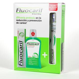 Fluocaril Pasta Dentífrica 125 ml + Colutorio 500 ml + Cepillo Pack regalo