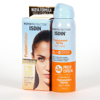 Fotoprotector ISDIN Fusion Water + Trasparent Spray Wet Skin 100 ml pack promo
