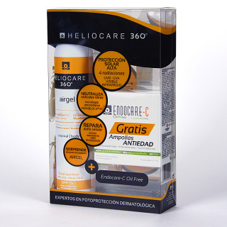 Heliocare 360 Airgel corporal SPF 50 200 ml + Endocare-C oil free 7 ampollas 1ml Gratis Pack