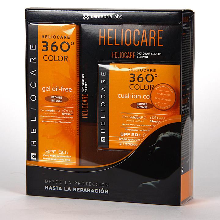 Heliocare 360 Gel oil-free SPF 50+ Bronze intense + Cushion SPF 50 Bronze intense Pack
