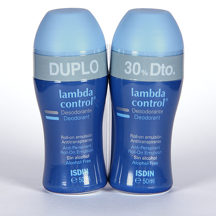 Isdin Lambda Control Desodorante Antitranspirante sin alcohol roll-on 50 ml duplo