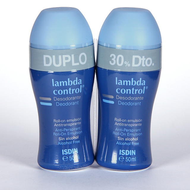 Isdin Lambda Control Desodorante Antitranspirante sin alcohol roll-on 50 ml duplo