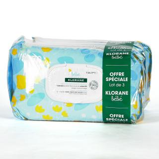 Klorane Bebé Trío Toallitas Limpiadoras Suaves 3x70 unidades