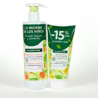 Klorane Junior Champú Melocotón 500 ml + Gel Ducha Pera-15% Pack