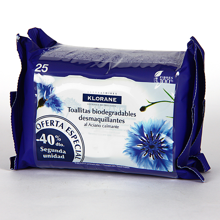 Klorane Toallitas Desmaquillantes al aciano 25+25 pack Duplo