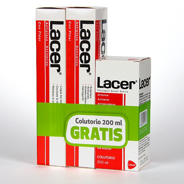 Lacer pasta dentífrica anticaries Duplo + enjuague gratis