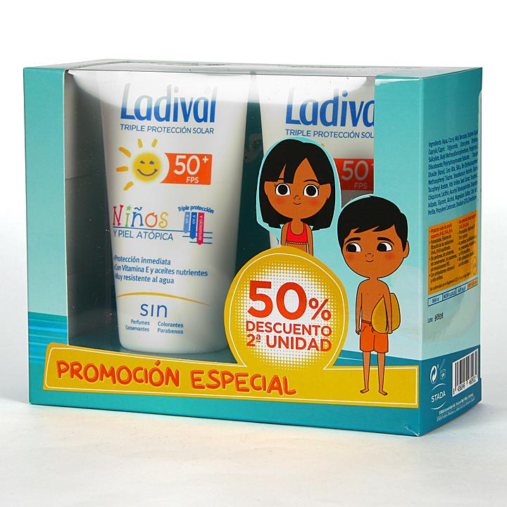 Ladival Niños y pieles atópicas SPF 50+ 150ml + 150 ml Pack Duplo Ahorro
