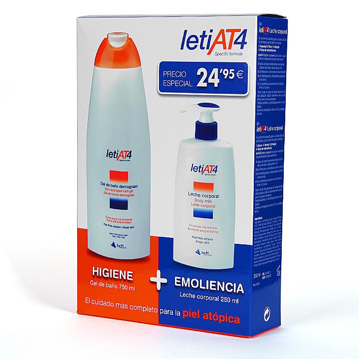 Leti AT4 Pack Gel de baño dermograso 750 ml + Leche corporal 250 ml