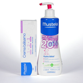 Mustela Pack Hydrabebé leche corporal 500 ml + crema bálsamo 100 ml