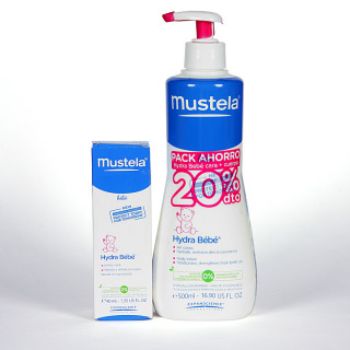 Mustela Pack Hydrabebé leche corporal 500 ml + Hydrabebé crema facial 40 ml