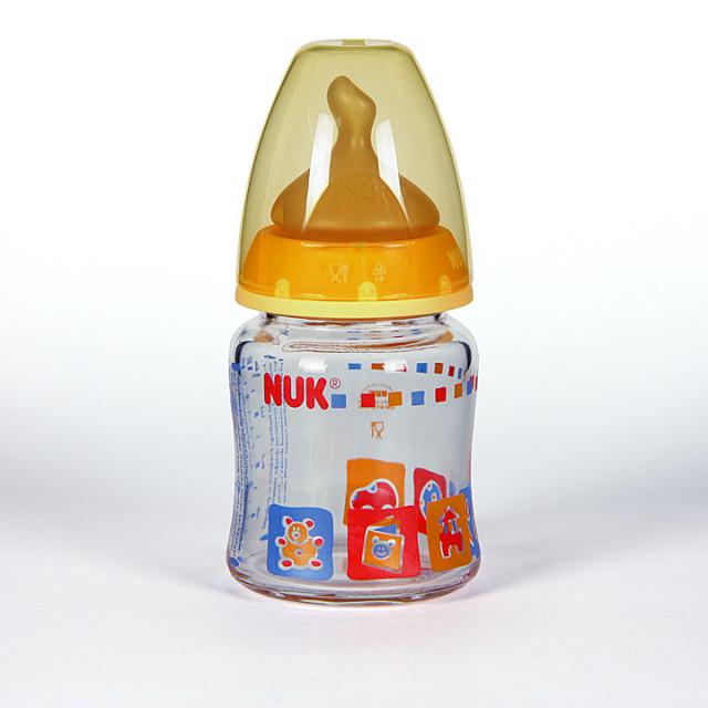 Nuk Biberón Cristal Boca Ancha Tetina Anatómica Látex T1M 0-6 meses 120 ml