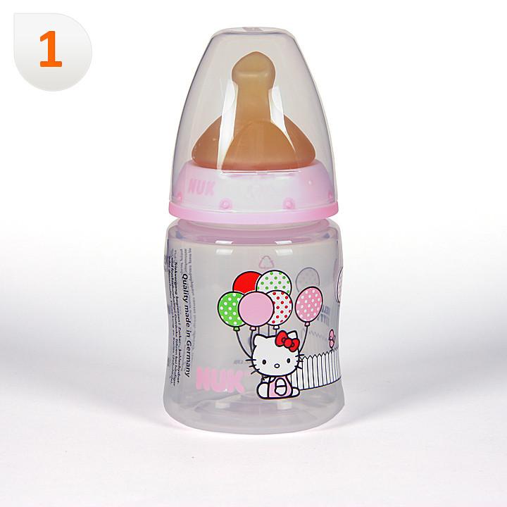 Nuk Biberón Hello Kitty Boca Ancha Tetina Anatómica Látex T1M 0-6 meses 150 ml