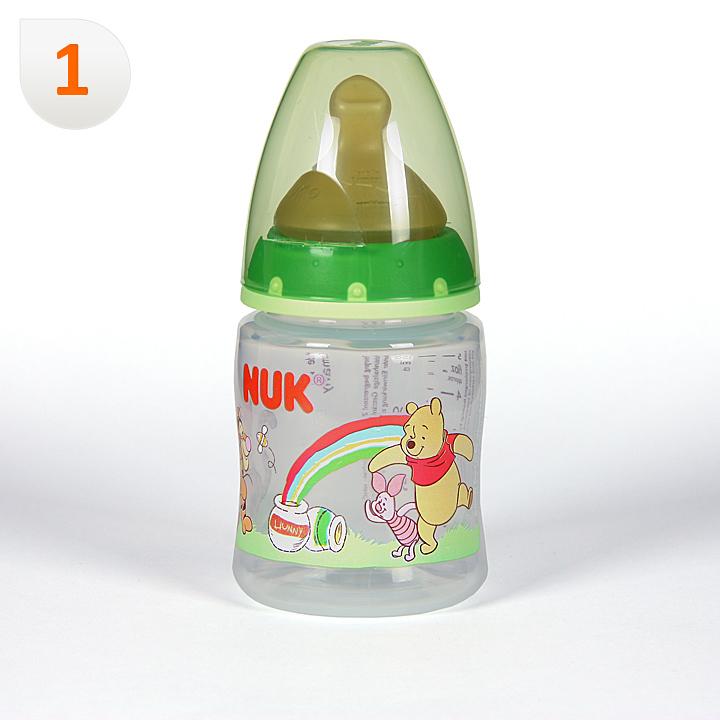 Nuk Biberón Winnie de Pooh Boca Ancha Tetina Anatómica Látex T1M 0-6 meses 150ml