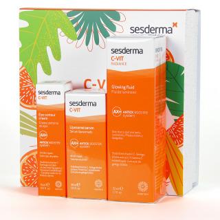 Sesderma C-Vit Liposomal Serum + C-Vit Radiance Fluido Luminoso + C-Vit Contorno de Ojos Pack descuento