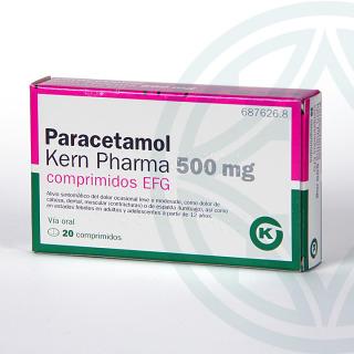 Paracetamol Kern Pharma EFG 500 mg 20 comprimidos