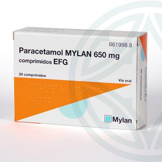 Paracetamol Mylan EFG 650 mg 20 comprimidos