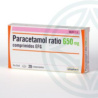 Paracetamol Ratio EFG 650 mg 20 comprimidos