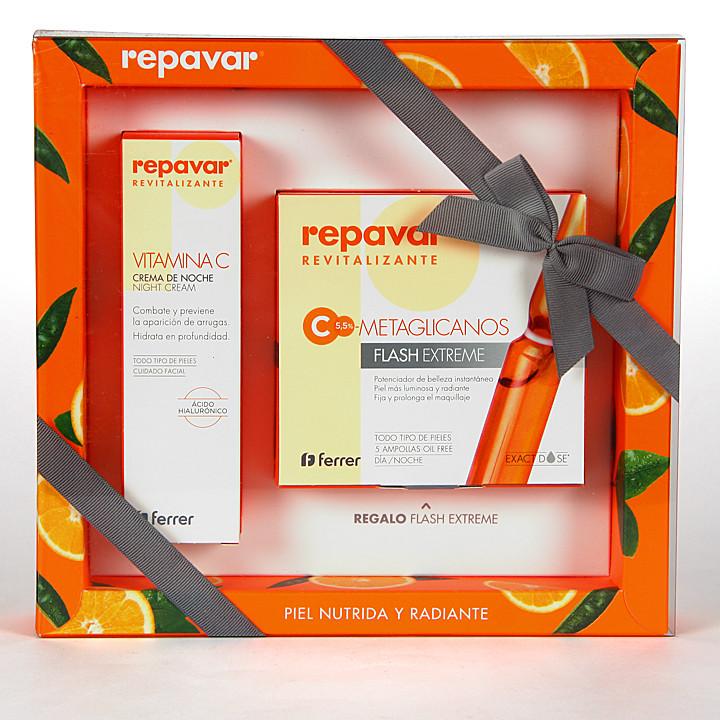Repavar Revitalizante Vitamina C Crema de noche + Ampollas Flash Extreme de Regalo Pack