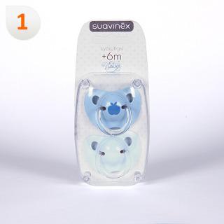Suavinex Chupete Vintage Azul Anatómico Látex 6 meses 2 unidades