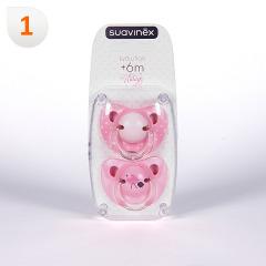 Suavinex Chupete Vintage Rosa Anatómico Látex 6 meses 2 unidades